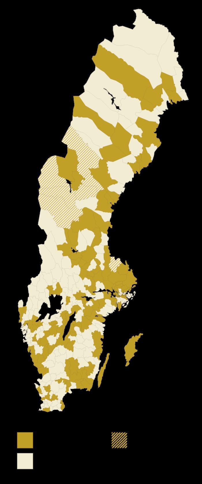 Sverigekarta med medlemskommunerna markerade.
