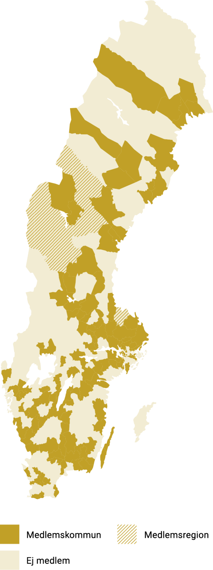 Karta över medlemskommuner